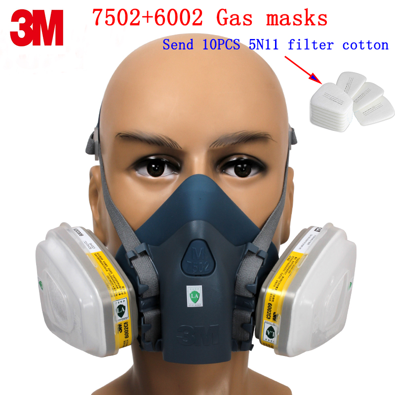 3M 7502+6002 respirator gas mask Genuine security 3M protective mask against Acid gas Hydrogen sulfide chemical gas mask 3m 6002 acid gas cartridge respiratory protection niosh approved against certain acid gas cl2 so2 hcl h2s use with 3m mask m848