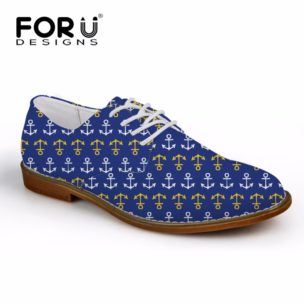 FORUDESIGNS New Fashion Men Casual Oxfords Shoes 3D Anchor Print High Quality Men Business Dress Shoes Flats Leather Oxford Shoe high quality men flats casual new genuine leather flat shoes men oxford fashion lace up dress shoes work shoe sapatos
