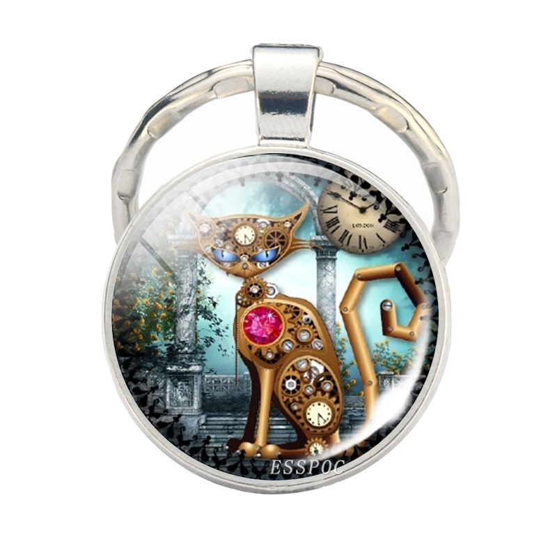 Steampunk Cat Stainless Steel Silver Key Chain Car Keychain Keyring Keyholder