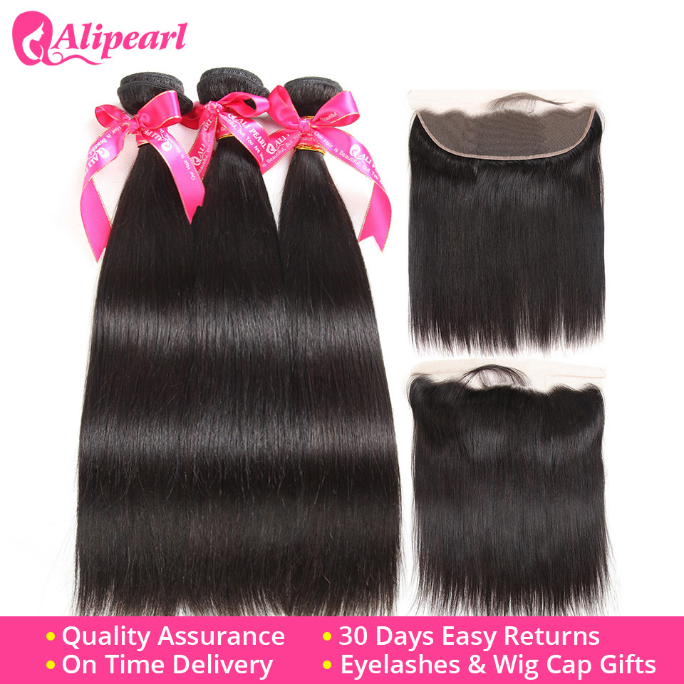 Confident Brazilian Straight Human Hair Bundles With Lace Frontal Closure Preplucked Ear To Ear Lace Frontal Closure With Bundles Alipearl Refreshing And Beneficial To The Eyes Human Hair Weaves 3/4 Bundles With Closure