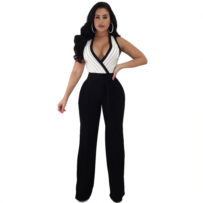 2018 Summer Striped Jumpsuits Women Sexy Deep V Neck Sleeveless Strappy Wide Leg Pants Casual Slim Overalls Club Rompers