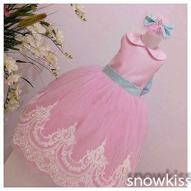 Long mint GreenBlush Pink White Lace flower girl dresses with Bow