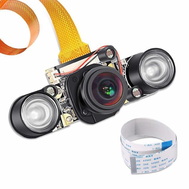 Raspberry Pi 3 b+ Camera Wide Angle 175 Degree 5MP OV5647 IR Cut Auto Switch Day/Night Vision for Raspberry Pi B+ 2B Pi Zero W