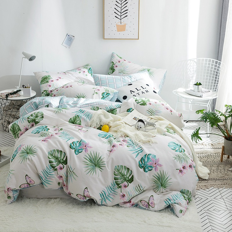 TUTUBIRD 100% Cotton palm butterfly print bedding set bedspread pastral girls duvet cover home textile bedclothes pillowcasesTUTUBIRD 100% Cotton palm butterfly print bedding set bedspread pastral girls duvet cover home textile bedclothes pillowcases