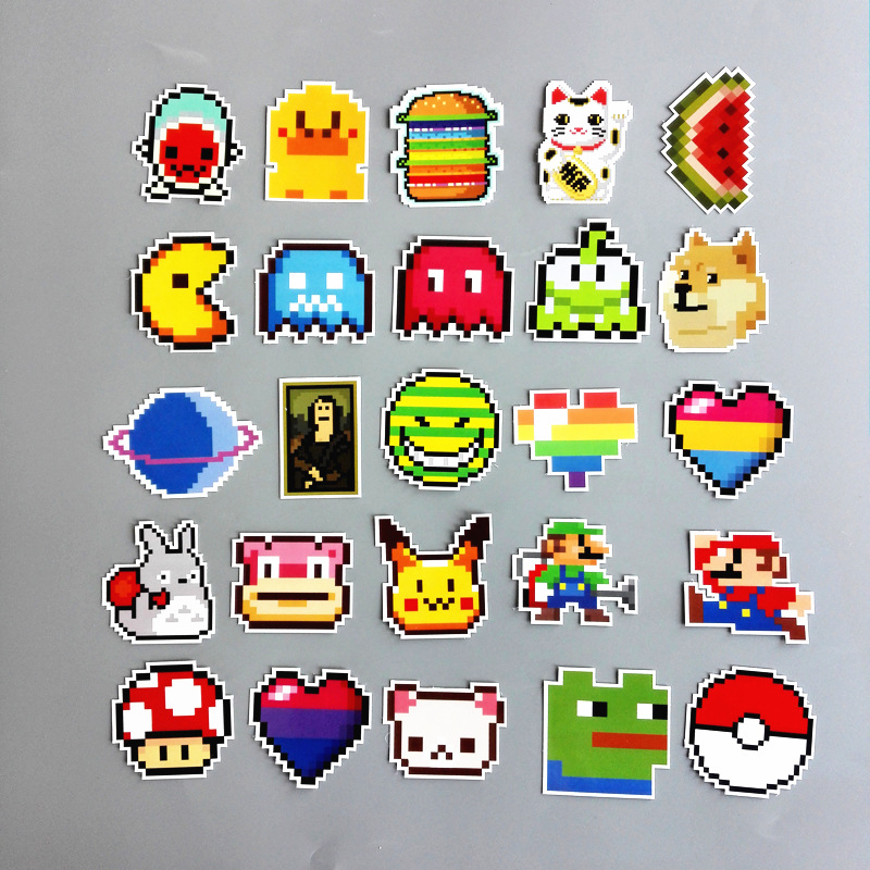 25pcs Pixel Mosaic stickers pvc waterproof totoro Pikachu mario cat dog car-styling laptop sticker bicycles backpack decor