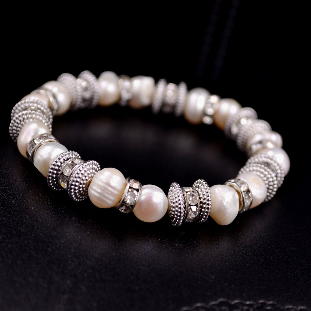 Special Offer Top Fashion Women Simulated Freshwater Pearls Beads  Rhinestones Circles Stretch Bracelet
