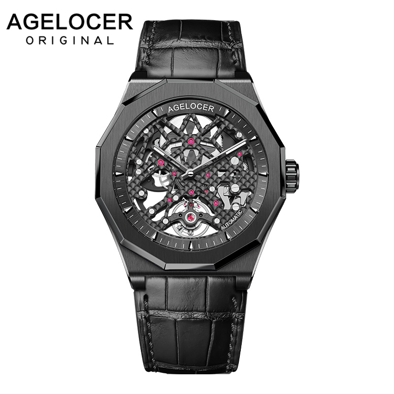 AGELOCER Homens Assistir Top Marca Suíça de relógios dos homens Relógio Moda Relógios Relogio masculino Sports Relógio De Pulso Preto Relógio Masculino Mecânica