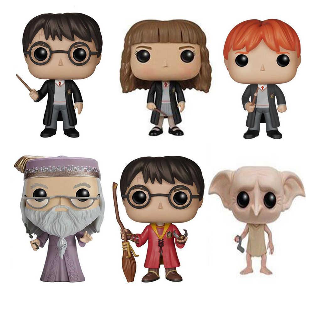 Filme mágico harry hermione ron dobby luna moody bellatrix dumbledore 10cm boneca de vinil figura modelo brinquedos