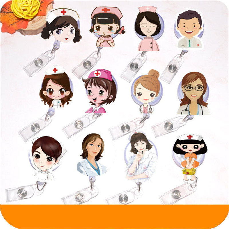 Pretty Girl Mini Retractable Badge Cute Cartoon Nurse Lanyards ID Name Card Badge Holder Clip Student Doctors Badge Holder