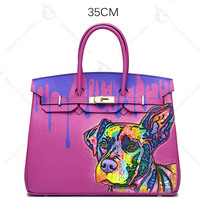 2018 New Arrival Art Oil Hand Painting Graffiti Colorfull Dog Totes Women Ladies Bags Designer Genuine Leather Bags For Women