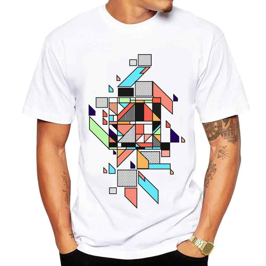 メンズtシャツホワイトtシャツカジュアルコットン抽象幾何プリント漫画半袖tシャツ男性ブランドtシャツ5xl
