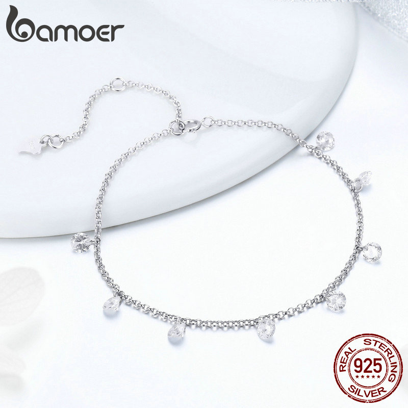 BAMOER 925 Sterling Silver Simple Geometric Crystal CZ Link Chain Bracelets Bangles for Women Authentic Silver BAMOER 925 Sterling Silver Simple Geometric Crystal CZ Link Chain Bracelets & Bangles for Women Authentic Silver Jewelry SCB103