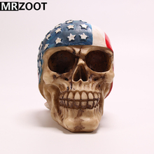 MRZOOT Gothic Punk Resin Crafts American Fly Scarf Creative Skull Sculpture Home Decoration and Halloween