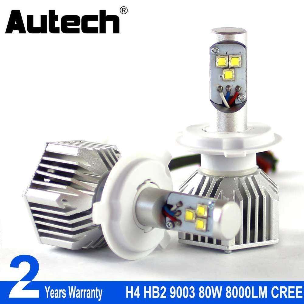 Autech H4 LED Headlight bulbs HB2 9003 Car Headlamp Bulbs Head Light 80W 8000LM 12V Fog light Convert Kit with CREE Chips