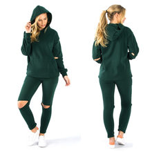 04a7045e3eb Mode survêtement 2 pièces Hoodies déchiré pantalon tenue décontractée  Sportswear course Jogging costumes entraînement vêtements femmes