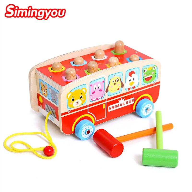 Simingyou Puzzle Bus a frappé le garçon en bas âge éducatif maternelle en bois jouets forme animale pour enfants C20 livraison directe