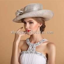 Summer British Style Flax Flower Elegant Ladies Dress Hat