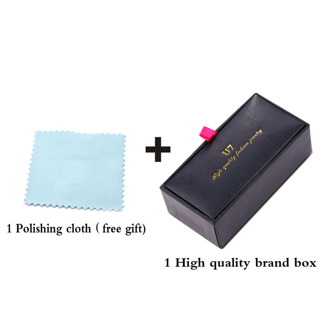 Classic Square Luxury Golden Silver Stripes Mens Cufflink With Gift Box