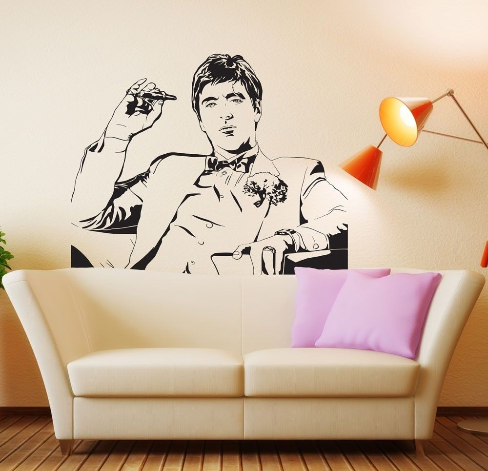 Scarface money power respect vinyl wall decal for home decore - Famous Tony Montana Scarface Movie Wall Decal Wall Sticker Room Decor Vinyl Wall Art Mural Fashion