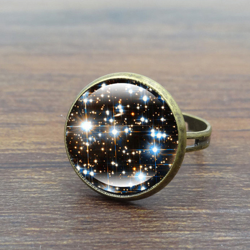 8 A SPACE//COSMIC//UNIVERSE PICTURE GLASS CABOCHON ADJUSTABLE RING.
