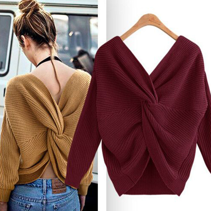 Fashion Women Solid Color Knitting Pullover Female V Neck Casual Sweater Women Ruched Jumper Batwing Sleeve Loose Sweaters