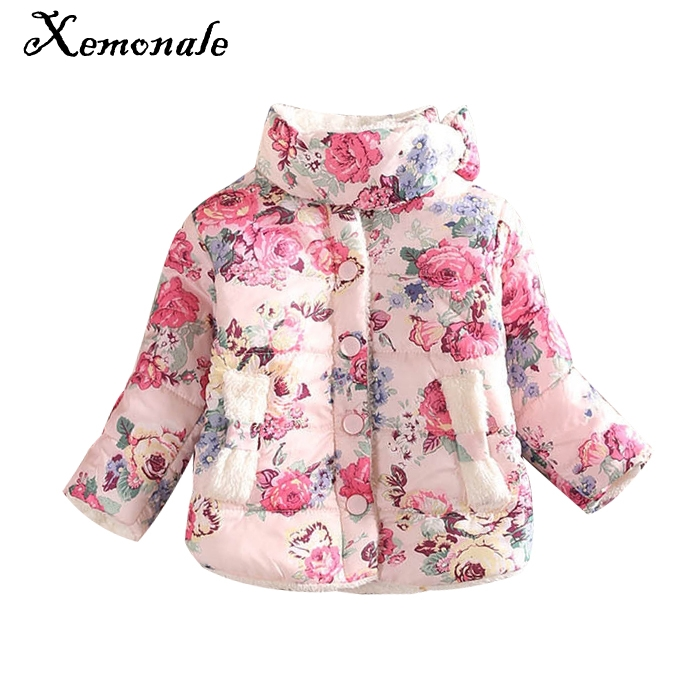 Xemonale girls warm coat 2016 new flower jacket children baby winter long sleeve cotton-padded clothes kids christmas outwear