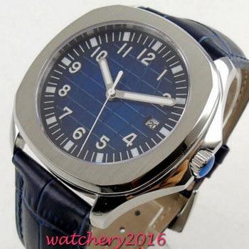 Bliger décontracté cadran bleu montres stériles hommes saphir Top marque de luxe militaire en cuir montre-bracelet de mode automatique montre-bracelet