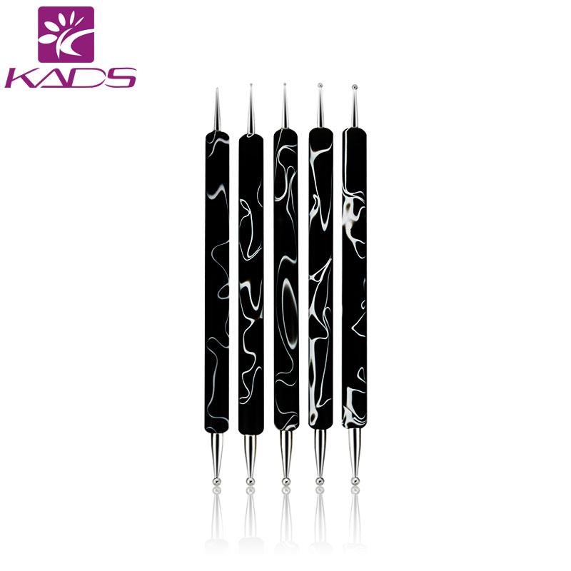 KADS New Arrival 5pcs/Set 2 Way Dotting Marbleizing Painting Pen Tool Nail Art Dot Dotting Tool Nail Care 5pcs nail art tool dotting painting transparent plastic marbleizing pen for beauty