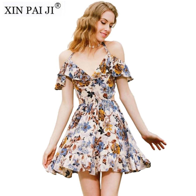 Halter V-neck Cool 2018 Summer Dress Women Chic Elastic Waist Printing Ruffle Off the Shoulder Beach Dress