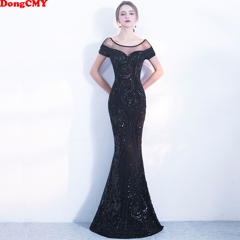 DongCMY New 2019 Sexy Black Sequin Long Evening Dress Formal Robe De Soiree Women Party Dresses