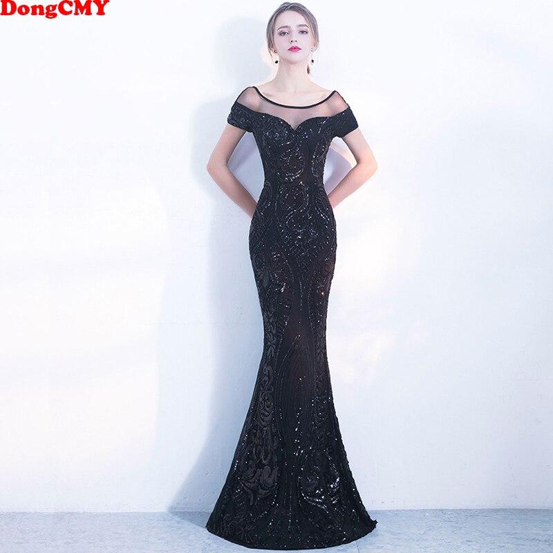 DongCMY nouveau 2019 Sexy noir Sequin longue robe de soirée formelle robe de soirée femmes robes de soirée