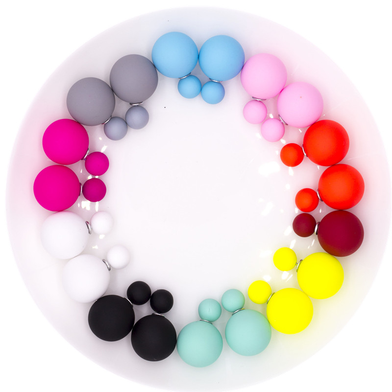 10 Pairs/lot Mix Colors Cheap Summer Style New Fashion Ball Double Sided Earrings Brincos Colored Ball Stud Earrings For Women