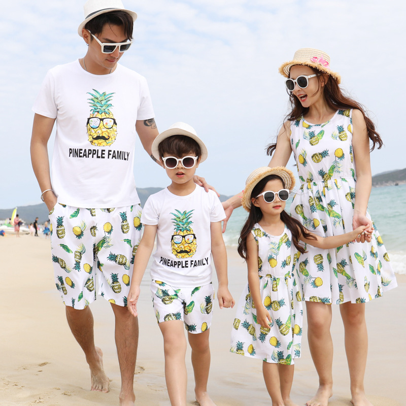 e721782119 Detail Feedback Questions about Family Matching Outfit 2018 New Beach  Cotton Mother and Daughter Dress Clothes Father Son Clothing Sets Family  Style Set 3XL ...