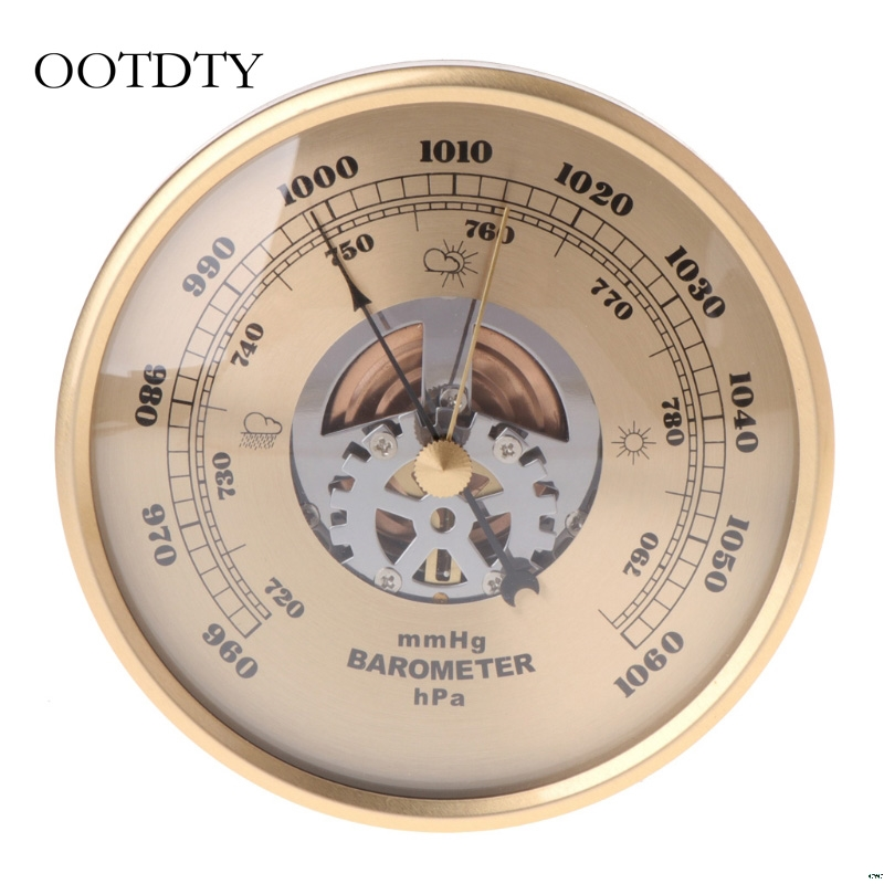 OOTDTY 108mm Wall Mounted Barometer Perspective Round Dial Air Weather Station MmHg/hPa