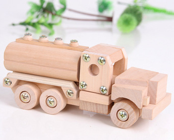 цена на Wooden disassembly assembling model tanker cement mixer truck children puzzle creative diy craft Screw toy truck educational toy