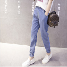 JUJULAND Spring Autumn Jeans Pants Women Elastic Waist Trousers Ladies Vintage Haren Plus Size
