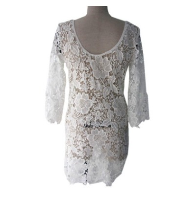 2017 Hollow Out Lace Bikini Cover Ups Beach Dress lace patchwork hollow out shirt