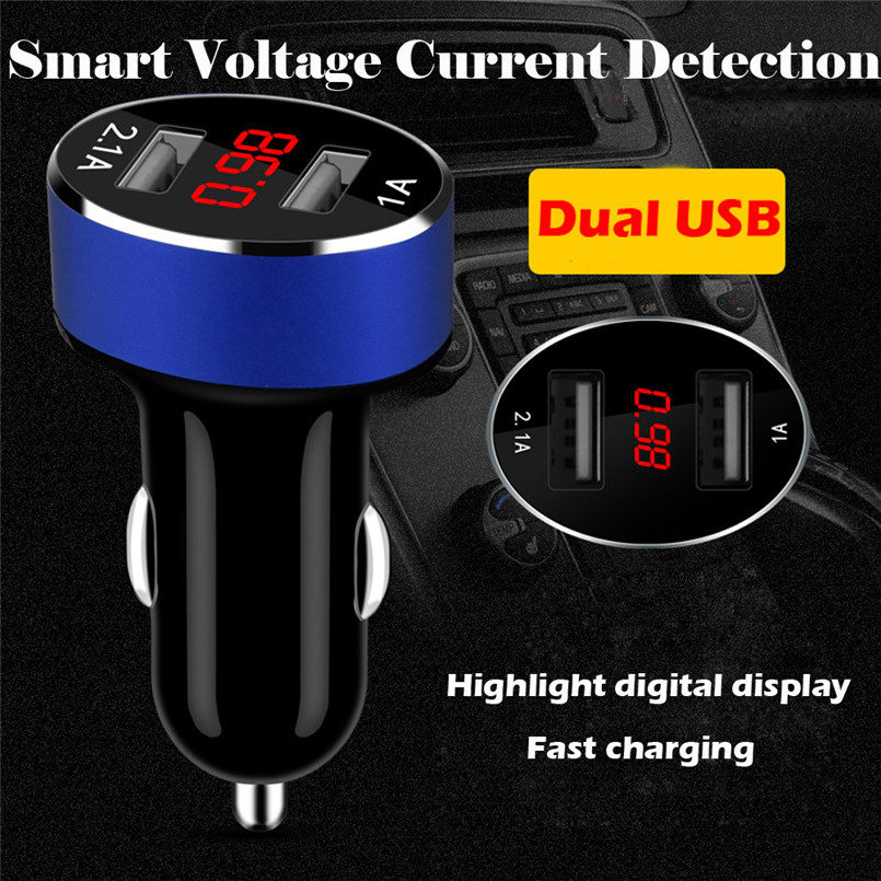 2018 New Design Dual <font><b>USB</b></font> <font><b>Car</b></font> <font><b>Charger</b></font> 2 Port LCD Display 12-24V Cigarette Socket Lighter Support Dropshipping 80711