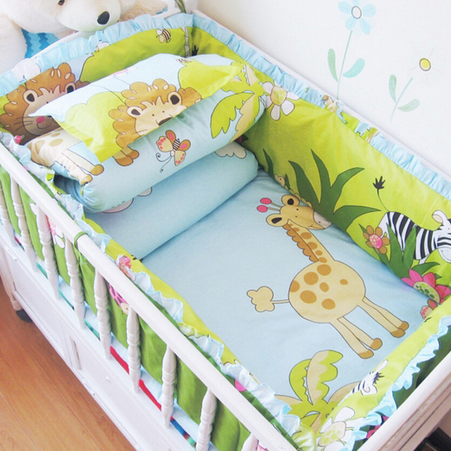 Hot Sale Winter Cot Bumper,Baby Bed Set Blue and White Plaid,Cartoon Bear Baby Bedding,New Baby Bedding Set for Boy 60*120 6pcs