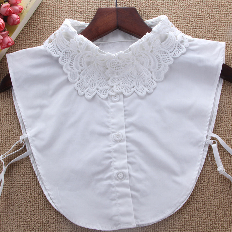 Fake Collar Womens Lace Blouse Detachable Collar Kraagje Nep Dames Col Summer Lapel Dress Accessories Bluz Croptop Necklace