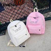 Temena New Cute Backpack Cat Ear Letter Shcool Backpack For Teenager Girls Mochila High Quality Female