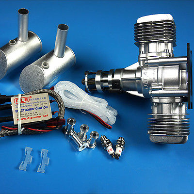 DLE40CC Twin Gasoline Engine W/Electronic Igniton &Muffler For For RC helicopter/fixed Airplane dla64 64cc cnc processed inline gasoline engine petrol engine for fixed wing rc airplane w twin igniton