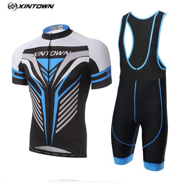Xintown branco bicicleta jersey bib shorts set homens roupas de ciclismo  bicicleta top bottom terno ropa 3d2ac506f5c52