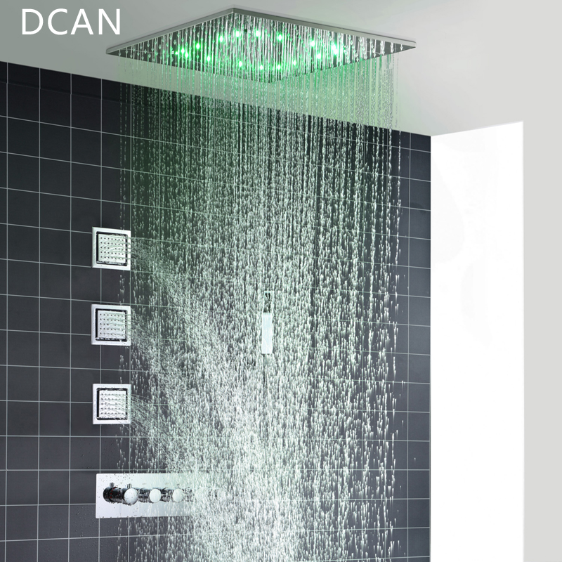 Big 20 Inch Overhead Ceiling LED Rain Spa Shower Head Set Bathroom 5 Function Temperature Controller