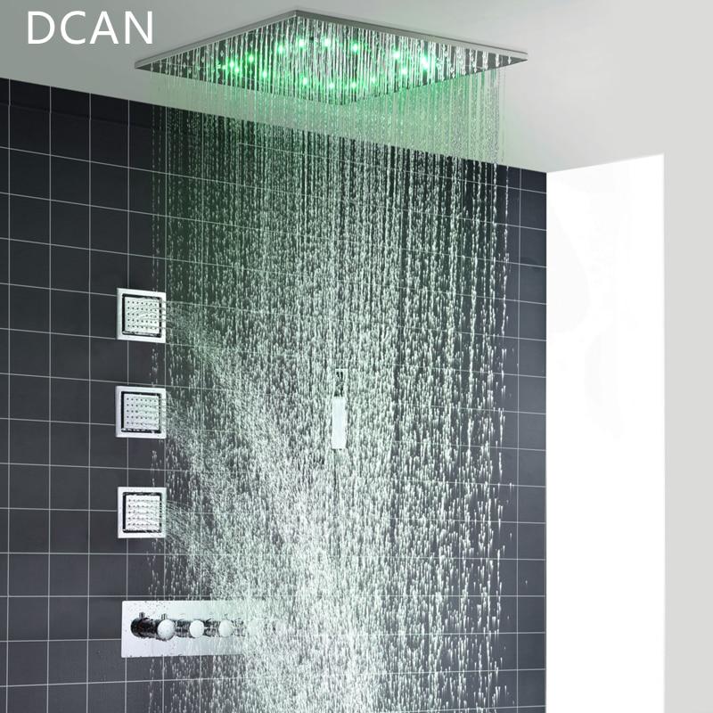 Big 20 Inch Overhead Ceiling LED Rain Spa Shower Head Set Bathroom 5 Function Temperature Controller Shower 3 Wall Body Spray