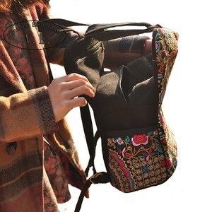Image 3 - Mochila de lona étnica con bordado Vintage para mujer, bolso de viaje con bordado de flores hecho a mano, morral escolar, Mochila