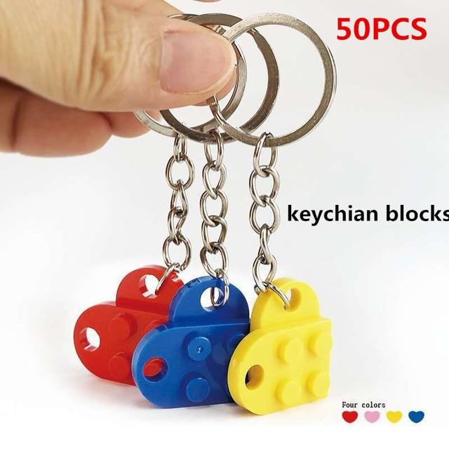 50 יח\סט מפתח שרשרת בלוקים לב בריק אבני בניין בלוקים אביזרי Keychain בלוק דגם ערכות סט DIY צעצועים לילדים
