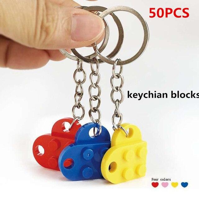 50 adet/takım anahtarlık blokları kalp taşları tuğla yapı taşları aksesuarları anahtarlık blok modeli kitleri seti DIY oyuncaklar çocuklar için