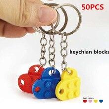 Juego de 50 bloques de cadena con forma de corazón para niños, accesorios de bloques de construcción, llavero, Kits de modelo, DIY