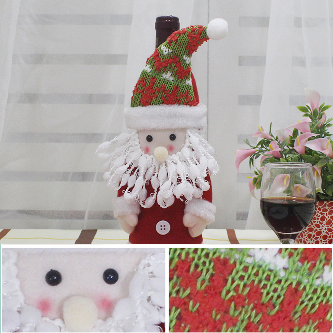 Gift Christmas Bottle Sets Santa Claus Snowman Wine Bottle Cover Holders Wedding Birthday Party Decoration Supplies